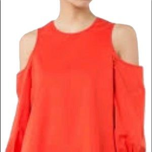 Tibi Lon g sleeve cold shoulder top